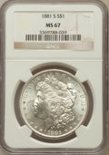 Morgan Dollars: , 1881-S $1 MS67 NGC. NGC Census: (3973/198). PCGS Population(1642/101). Mintage: 12,760,000. Numismedia Wsl. Price for prob...