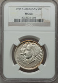 Commemorative Silver: , 1935-S 50C Arkansas MS64 NGC. NGC Census: (292/454). PCGSPopulation (463/613). Mintage: 5,506. Numismedia Wsl. Price forp...