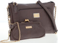 Luxury Accessories:Accessories, Dolce & Gabbana Gray Leather Bag with Gold Chain Strap. ...