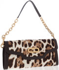 Luxury Accessories:Accessories, Jimmy Choo Leopard Print Pony Hair & Brown Leather TrimShoulder Bag and Clutch. ...