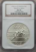 Modern Issues: , 1995-D $1 Olympic/Track & Field Silver Dollar MS70 NGC. NGCCensus: (227). PCGS Population (154). Numismedia Wsl. Price fo...