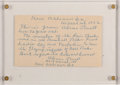Baseball Collectibles:Others, Abner Powell Signed and Inscribed Index Card....