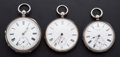 Timepieces:Pocket (pre 1900) , Sterling Lever Fusee & Two Key Wind Pocket Watches. ... (Total:3 Items)