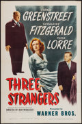 "Movie Posters:Crime, Three Strangers (Warner Brothers, 1946). One Sheet (27"" X 41"").Crime.. ..."