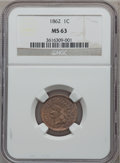 Indian Cents: , 1862 1C MS63 NGC. NGC Census: (283/731). PCGS Population (509/915).Mintage: 28,075,000. Numismedia Wsl. Price for problem ...