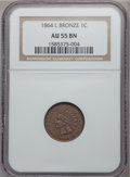 Indian Cents: , 1864 1C L On Ribbon AU55 NGC. NGC Census: (75/397). PCGS Population(86/270). Mintage: 39,233,712. Numismedia Wsl. Price fo...