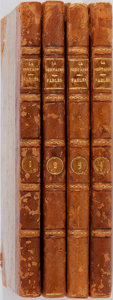 Books:Literature Pre-1900, Jean de La Fontaine. La Fontaine's Fables in Four Volumes. CHENU, 1806. Contemporary leather binding. Marbled boards... (Total: 4 Items)