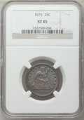 Seated Quarters: , 1875 25C XF45 NGC. NGC Census: (7/270). PCGS Population (12/289).Mintage: 4,293,500. Numismedia Wsl. Price for problem fre...