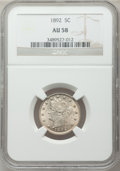 Liberty Nickels: , 1892 5C AU58 NGC. NGC Census: (11/371). PCGS Population (35/523).Mintage: 11,699,642. Numismedia Wsl. Price for problem fr...