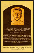 Baseball Collectibles:Others, Ray Schalk Signed Hall of Fame Plaque Postcard. ...