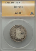 Early Quarters: , 1807 25C AG3 ANACS. NGC Census: (0/181). PCGS Population (22/309).Mintage: 220,643. Numismedia Wsl. Price for problem free...