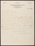 Baseball Collectibles:Others, Walter Johnson Handwritten, Signed Letter....