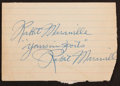 Baseball Collectibles:Others, Rabbit Maranville Twice Signed Cut Signature....