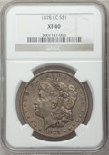 Morgan Dollars: , 1878-CC $1 XF40 NGC. NGC Census: (117/16149). PCGS Population(241/21945). Mintage: 2,212,000. Numismedia Wsl. Price for pr...