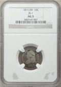 Bust Dimes: , 1811/09 10C AG3 NGC. JR-1. NGC Census: (0/51). PCGS Population(1/82). Mintage: 65,180. Numismedia Wsl. Price for problem ...
