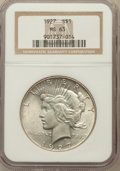 Peace Dollars: , 1927 $1 MS63 NGC. NGC Census: (1554/1096). PCGS Population(2327/2002). Mintage: 848,000. Numismedia Wsl. Price for problem...