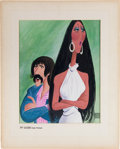 Music Memorabilia:Documents, Sonny and Cher Print by Hirschfeld, 1974....