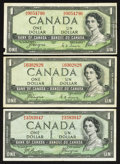 Canadian Currency: , Canada 1954 Devil's Face $1 Notes.. ... (Total: 3 notes)