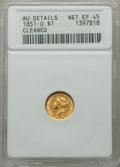 Gold Dollars, 1851-O G$1 -- Cleaned -- ANACS. AU Details. Net XF45. NGC Census:(16/792). PCGS Population (16/373). Mintage: 290,000. Num...