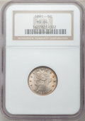 Liberty Nickels: , 1891 5C MS64 NGC. NGC Census: (154/78). PCGS Population (196/104).Mintage: 16,834,350. Numismedia Wsl. Price for problem f...