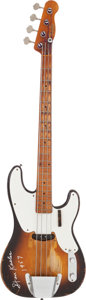 Music Memorabilia:Instruments , Stan Kesler-Owned and Signed 1956 Fender Precision Electric BassGuitar, Serial #13241. ...