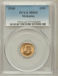 Commemorative Gold: , 1916 G$1 McKinley MS65 PCGS. PCGS Population (980/689). NGC Census:(477/412). Mintage: 9,977. Numismedia Wsl. Price for pr...