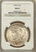 Peace Dollars: , 1926-S $1 MS63 NGC. NGC Census: (1509/2193). PCGS Population(2275/2724). Mintage: 6,980,000. Numismedia Wsl. Price for pro...
