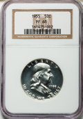 Proof Franklin Half Dollars: , 1955 50C PR68 NGC. NGC Census: (1516/163). PCGS Population (198/3).Mintage: 378,200. Numismedia Wsl. Price for problem fre...