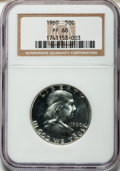Proof Franklin Half Dollars: , 1960 50C PR68 NGC. NGC Census: (1356/64). PCGS Population (388/13).Mintage: 1,691,602. Numismedia Wsl. Price for problem f...