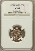 Buffalo Nickels: , 1938-D 5C MS66 NGC. NGC Census: (19708/1957). PCGS Population(28122/1599). Mintage: 7,020,000. Numismedia Wsl. Price for p...