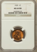 Lincoln Cents: , 1929 1C MS64 Red and Brown NGC. NGC Census: (87/60). PCGSPopulation (129/62). Mintage: 185,262,000. Numismedia Wsl. Price...