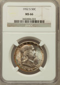 Franklin Half Dollars: , 1952-S 50C MS66 NGC. NGC Census: (292/12). PCGS Population (287/2).Mintage: 5,526,000. Numismedia Wsl. Price for problem f...