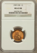 Lincoln Cents: , 1909 VDB 1C MS63 Red NGC. NGC Census: (904/7599). PCGS Population(568/12549). Mintage: 27,995,000. Numismedia Wsl. Price f...