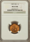 Lincoln Cents: , 1909 VDB 1C MS63 Red and Brown NGC. NGC Census: (581/2325). PCGSPopulation (707/3533). Mintage: 27,995,000. Numismedia Wsl...