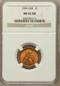 Lincoln Cents: , 1909 VDB 1C MS62 Red and Brown NGC. NGC Census: (102/2905). PCGSPopulation (88/4240). Mintage: 27,995,000. Numismedia Wsl....