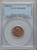 Lincoln Cents: , 1922-D 1C MS64 Red and Brown PCGS. PCGS Population (219/34). NGCCensus: (140/38). Mintage: 15,274,000. Numismedia Wsl. Pri...