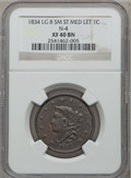 Large Cents, 1834 1C Large 8, Small Stars, Medium Letters XF40 NGC. N-4. NGCCensus: (10/169). PCGS Population (12/75). Mintage: 1,855,...