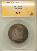 Bust Half Dollars, 1814 50C Good 4 ANACS. O-104a. NGC Census: (1/624). PCGS Population(0/587). Mintage: 1,039,075. Numismedia Wsl. Price for ...