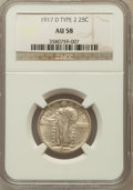 Standing Liberty Quarters: , 1917-D 25C Type Two AU58 NGC. NGC Census: (86/312). PCGS Population(145/398). Mintage: 6,224,400. Numismedia Wsl. Price fo...