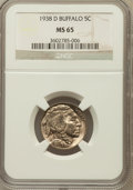 Buffalo Nickels: , 1938-D 5C MS65 NGC. NGC Census: (6585/21665). PCGS Population(23030/29721). Mintage: 7,020,000. Numismedia Wsl. Price for ...