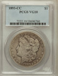 Morgan Dollars: , 1893-CC $1 VG10 PCGS. PCGS Population (213/5283). NGC Census:(98/2928). Mintage: 677,000. Numismedia Wsl. Price for proble...