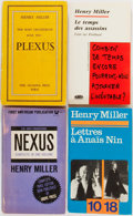 Books:Literature 1900-up, Henry Miller. SIGNED/INSCRIBED. Group of Four. Various Publishers.Four paperbacks in original wrappers. Two French editions...(Total: 4 Items)