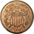 Two Cent Pieces, 1872 2C MS65+ Red and Brown PCGS. CAC....