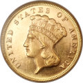 Three Dollar Gold Pieces, 1871 $3 MS65 Prooflike NGC....
