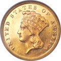 Three Dollar Gold Pieces, 1873 $3 Closed 3 MS62 Prooflike NGC....