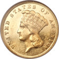 Three Dollar Gold Pieces, 1877 $3 MS61 Prooflike NGC....