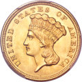 Three Dollar Gold Pieces, 1854 $3 MS65 PCGS....
