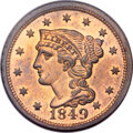 Proof Large Cents, 1849 1C PR65 Red and Brown PCGS. N-18, Low R.6....