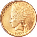 Indian Eagles, 1907 $10 No Periods MS66+ PCGS. CAC....