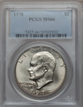 Eisenhower Dollars: , 1978 $1 MS66 PCGS. PCGS Population (347/5). NGC Census: (132/5).Mintage: 25,702,000. Numismedia Wsl. Price for problem fre...
